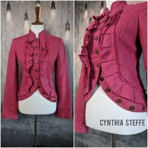 Cynthia Steffe Linen Riding Jacket in Raspberry 💅
